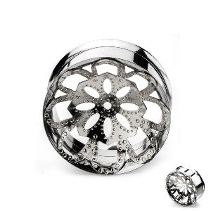 Ear Plug - Steel - Mandala - Flower - Silver