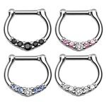 Septum Clicker - Silver - Crystals - Slim