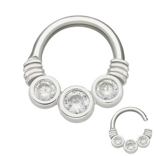 Septum Clicker - Steel - Silver - Crystals - Clear