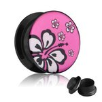 Picture Ear Plug - Screw - Hibiscus