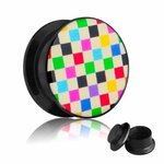 Picture Ear Plug - Screw - Chessboard - Rainbow