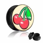 Picture Ear Plug - Screw - Cherries