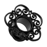 Flesh Tunnel - Steel - Black - Ornament - 10 mm