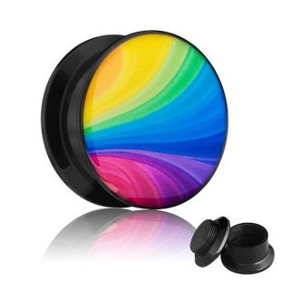 Picture Ear Plug - Screw - Rainbow