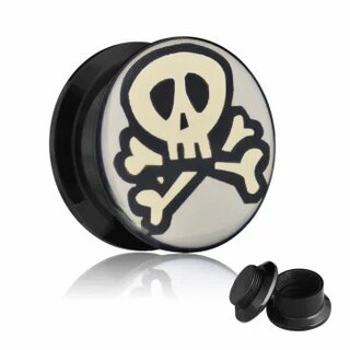 Picture Ear Plug - Screw - Skull