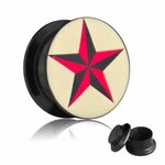 Picture Ear Plug - Screw - Star Red-Black