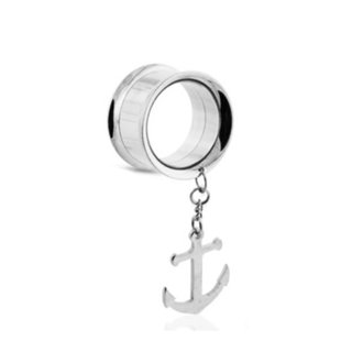 Flesh Tunnel - Steel - Silver - Pendant - Anchor