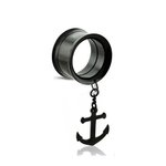 Flesh Tunnel - Steel - Black - Pendant - Anchor