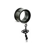 Flesh Tunnel - Steel - Black - Pendant - Key - 10 mm