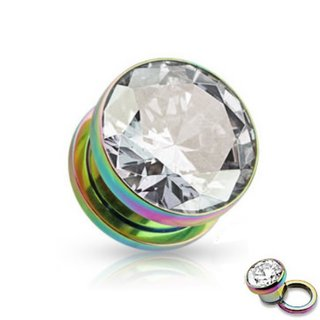 Crystal Ear Plug - Steel - Rainbow - Crystal - Clear