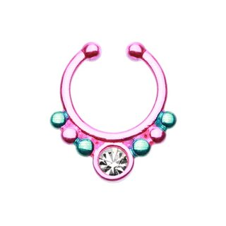 Fake Septum Piercing - Pink - Blue - Crystal