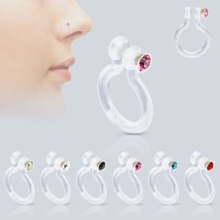 Fake Nose Piercing - Transparent - Crystal