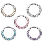Septum Clicker - Ring - Silver - Crystals - Classic -...