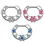 Septum Clicker - Silver - Crystals - Flower - [01.] - clear