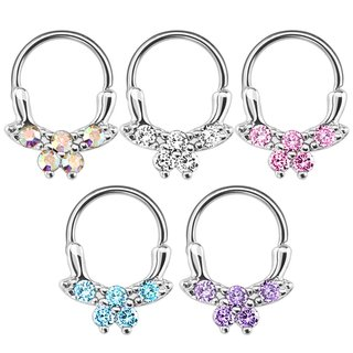 Septum Clicker - Ring - Silver - Crystals - Butterfly
