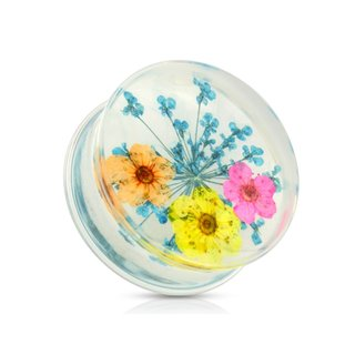 Silhouette Ear Plug - Dried Flower - Blue