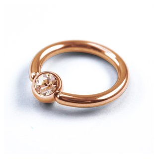 Ball Closure Ring - Rose Gold - Crystal - Light Peach