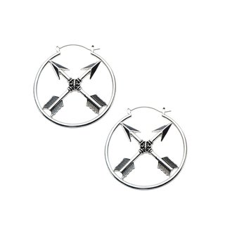Flesh Tunnel Hoop Earring - Silver - 2 Arrows