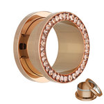 Flesh Tunnel - Rose Gold - Crystal - Light Peach - Epoxy...