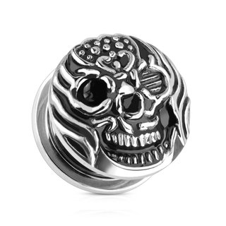 Ear Plug - Steel - Silver - Burning Skull