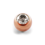 Piercing Ball - Steel - Rose Gold - Crystal - Clear -...