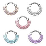 Septum Clicker - Ring - Silver - Crystals - Double