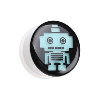 Picture Ear Plug - Glow in the dark - White - Robot