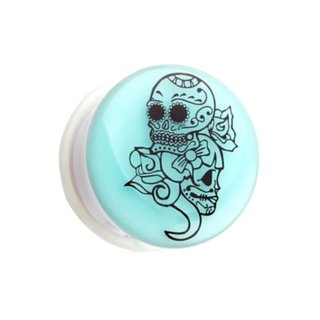 Picture Ear Plug - Glow in the dark - White - Sugar Skull