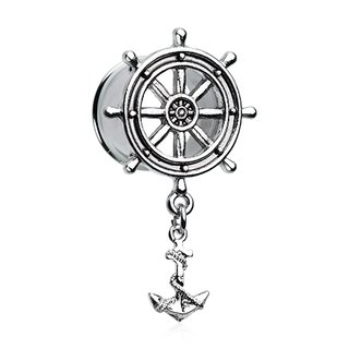 Flesh Tunnel - Steel - Silver - Steering Wheel - Anchor
