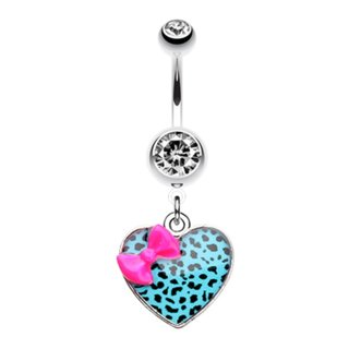 Bananabell Piercing - Heart - Leopard - Ribbon - Turquoise