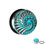 Ear Plug - Steel - Silver - Shell - Blue - Crystals - 8 mm