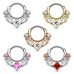 Septum Clicker - Ring - Ornament - Crystal - Square -...