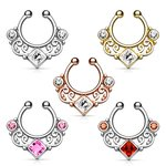 Fake Septum Piercing - Ornament - Crystal - Square -...