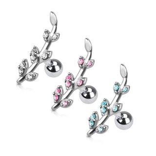 Barbell Piercing - Silver - Short - Leafs