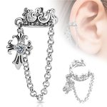 Ear Cuff - Silver - Crown - Chain - Cross