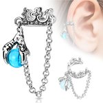 Ear Cuff - Silver - Crown - Chain - Pearl - Blue