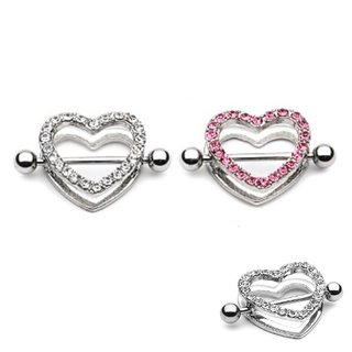 Nipple Piercing - Steel - Heart - Crystals