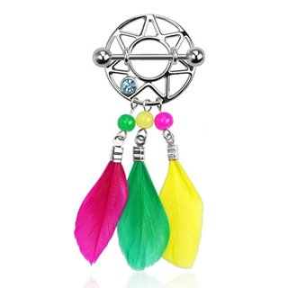 Nipple Piercing - Steel - Dream Catcher - Colorful