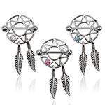 Nipple Piercing - Steel - Dream Catcher - Silver - Crystal