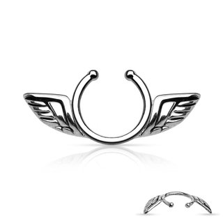 Fake Nipple Piercing - Steel - Silver - Wings