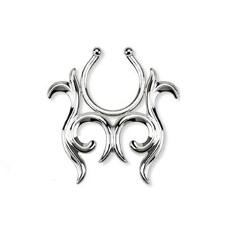 Fake Nipple Piercing - Steel - Silver - Tribal
