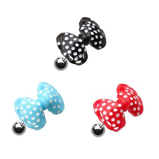 Barbell Piercing - Silver - Short - Ribbon - Polka Dots