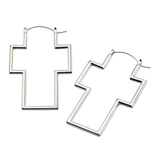 Flesh Tunnel Hoop Earring - Silver - Cross