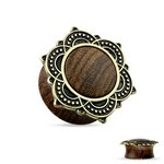 Ear Plug - Wood - Ornament - Gold