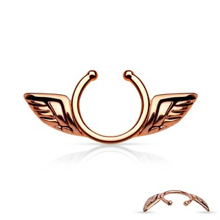 Fake Nipple Piercing - Steel - Rose Gold - Wings