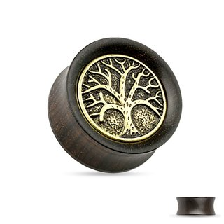 Wood Ear Plug - Brown - Tree of Life - Gold - Antique