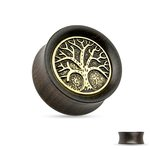 Wood Ear Plug - Brown - Tree of Life - Gold - Antique 10 mm