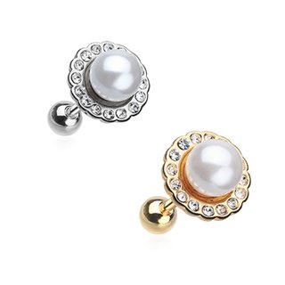 Barbell Piercing - Short - Steel - Pearl