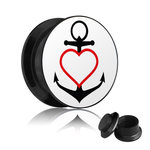 Picture Ear Plug - Screw - Ancor - Heart - Red