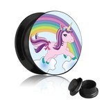 Picture Ear Plug - Screw - Unicorn 8 mm